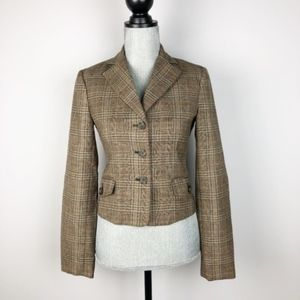BCBGMAXAZRIA Brown Plaid With Suede Elbow Patches